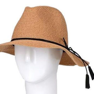Summer Straw Hat With Tassel, Taupe